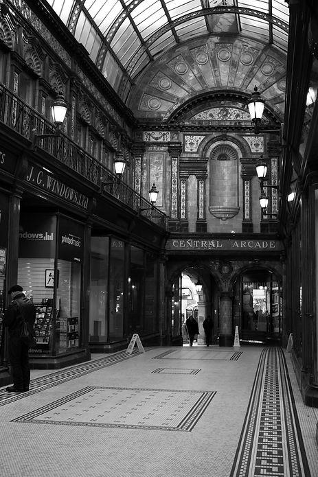 Monochrome photograph of the interior of Newcastle's Central Arcade