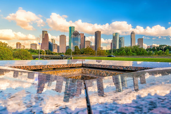 Downtown Houston skyline in Texas USA wi