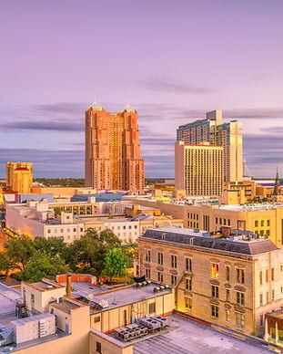 Top view of downtown San Antonio in Texa