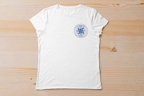 Unisex Tee with embroidered Compass Music Logo
