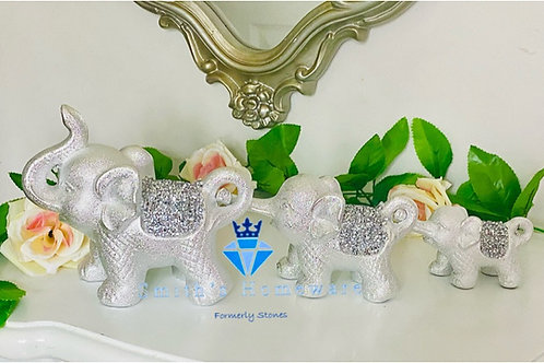 Silver Diamanté linking Elephants