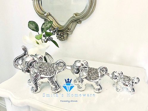Silver Diamanté linking Elephants