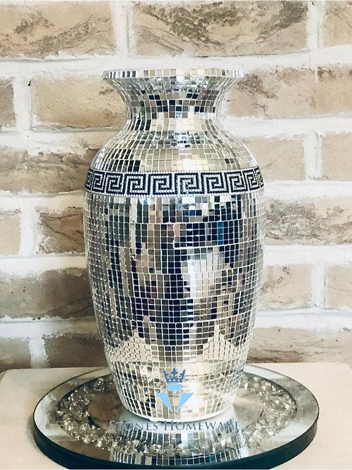 Mirror Mosiac Greek Key vase