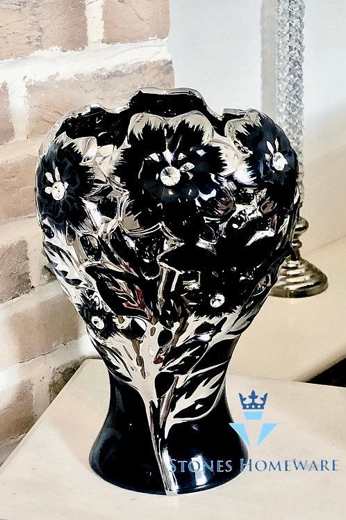 Small Black/Silver Diamanté Studded Flower Vase
