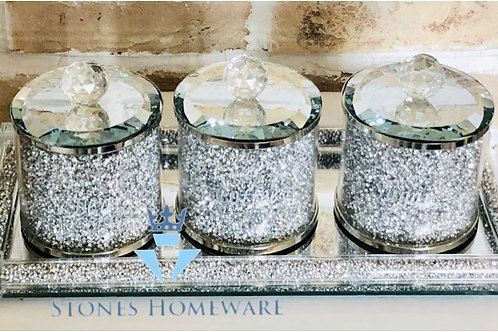Small Silver Diamante effect Canisters