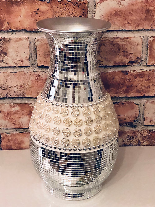 Mirror mosaic and flower studded vase