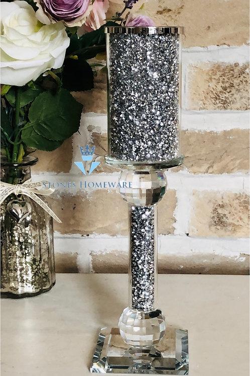 Silver Crystal filled Tea Light Holder