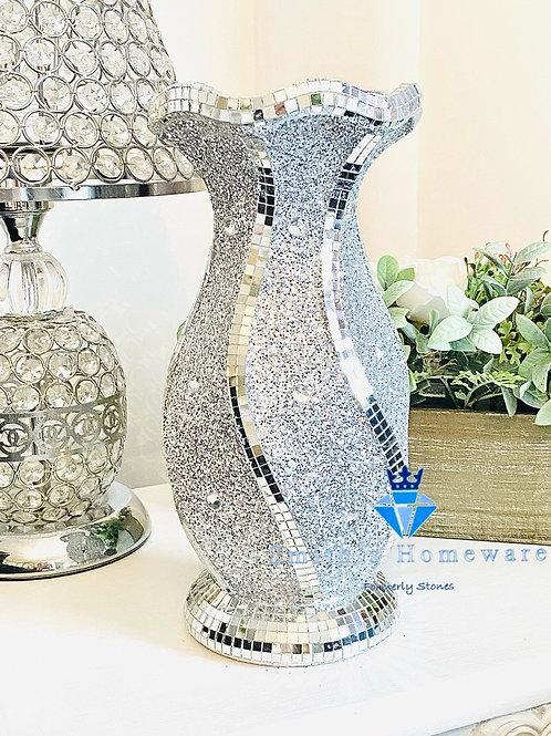 Silver glitter Twist vase