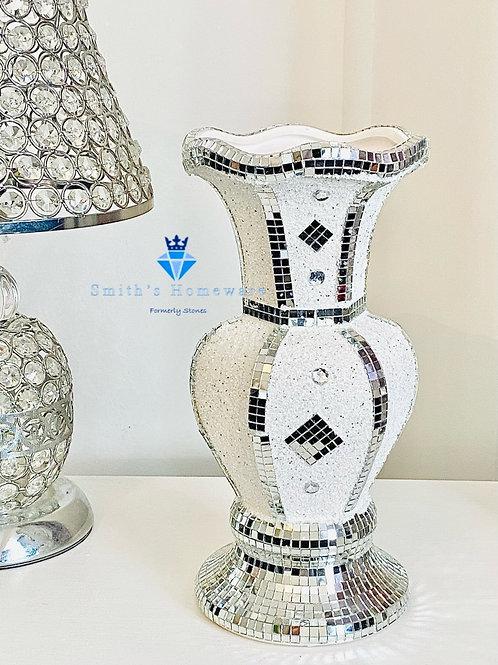 White glitter Vase