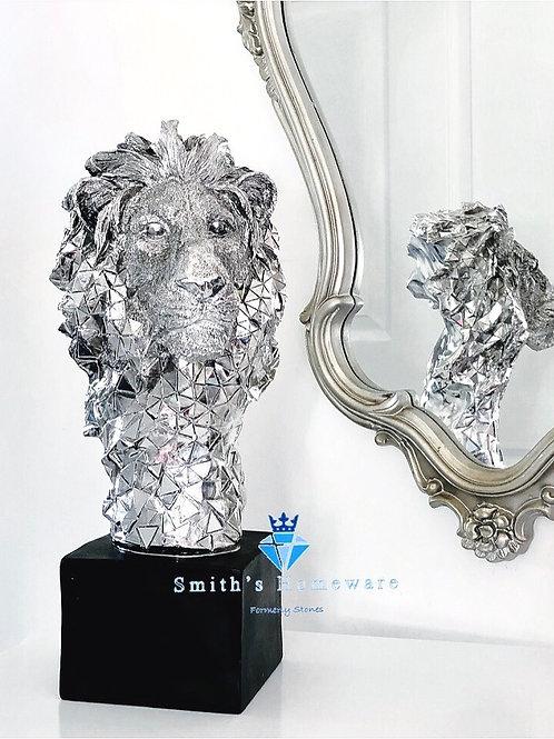 Silver Art lion Head Bust