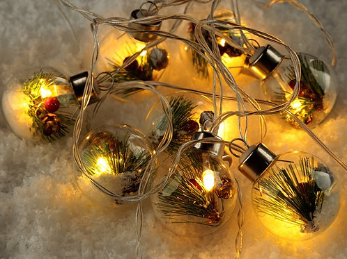 Pine cone and Berry LED Bauble fairy lights