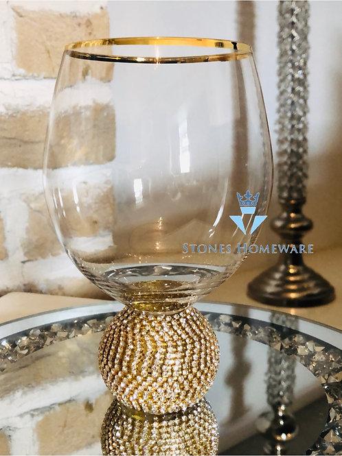 Gold Diamanté Stemless Wine Glass