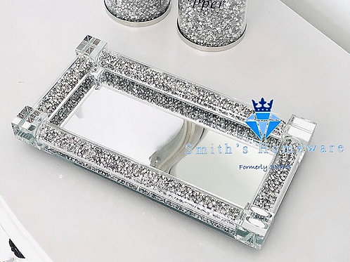 Silver Crystal filled Salt and Pepper Trays