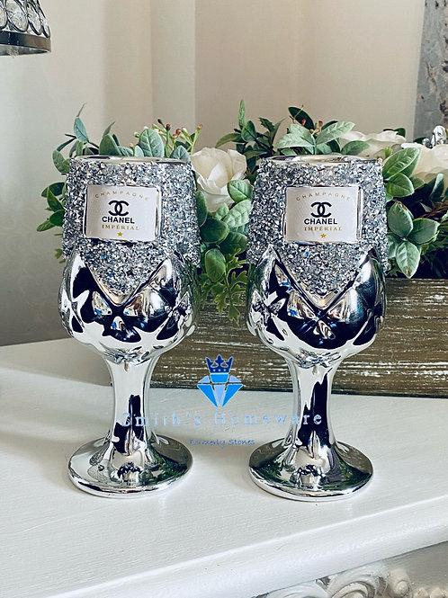 Pair of Diamanté wine glasses