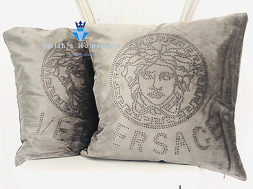 Inspired pair of Cushions - Silver