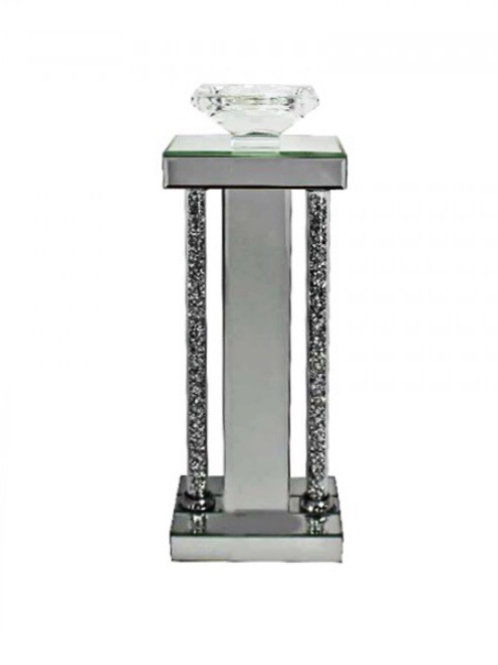Large Crystal Clear Column Candle Holder
