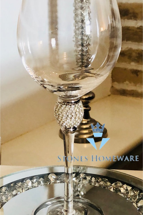 Silver Diamanté Wine Glass