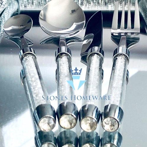 Clear Diamante effect Cutlery set
