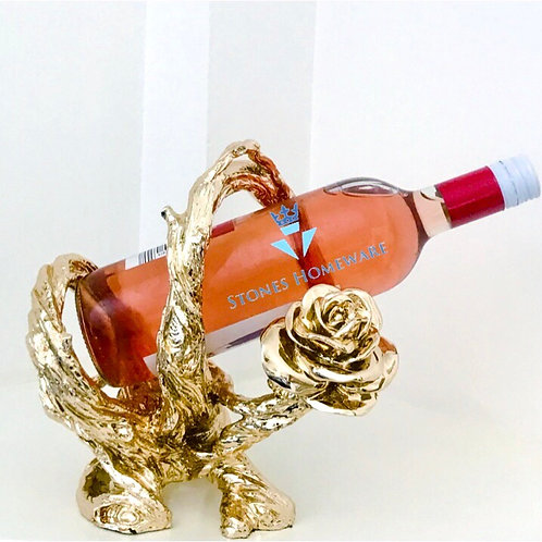 Gold Rose Wine Bottle Holder