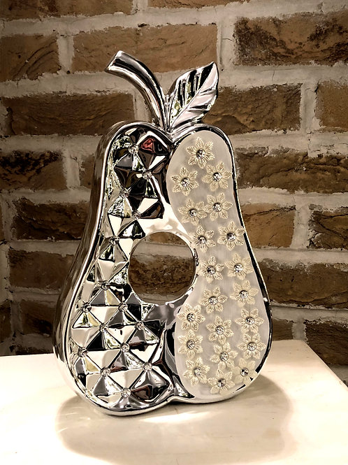 Large Decorative Silver Pear