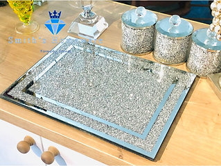Glass Silver Crystal Chopping Board