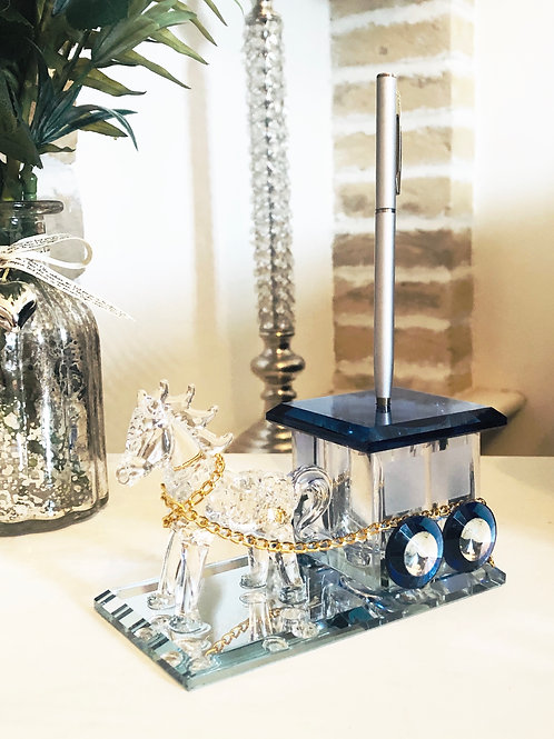 Glass Horse and Carriage Pen Holder