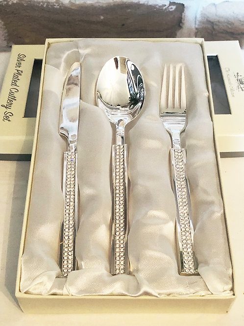 Silver plated Child's Diamanté cutlery set