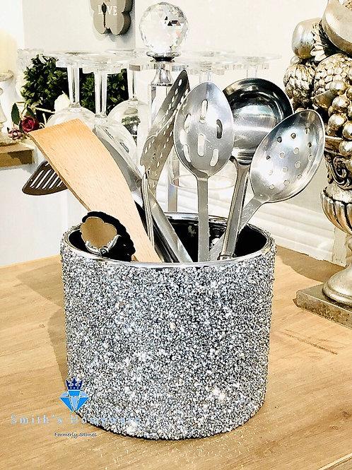 Silver Diamanté studded utensil pot