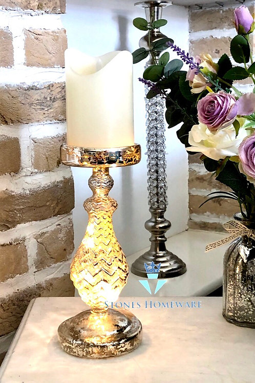 Mottled Glass LED Candle Holder