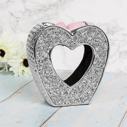 Silver Diamanté Heart wax Burner