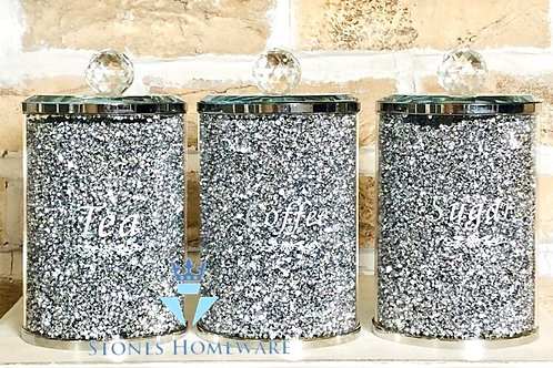 Large Silver Diamante effect Glass Canisters