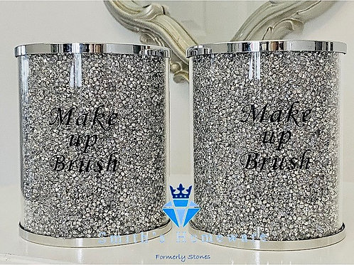 Silver Diamanté Make up brush set