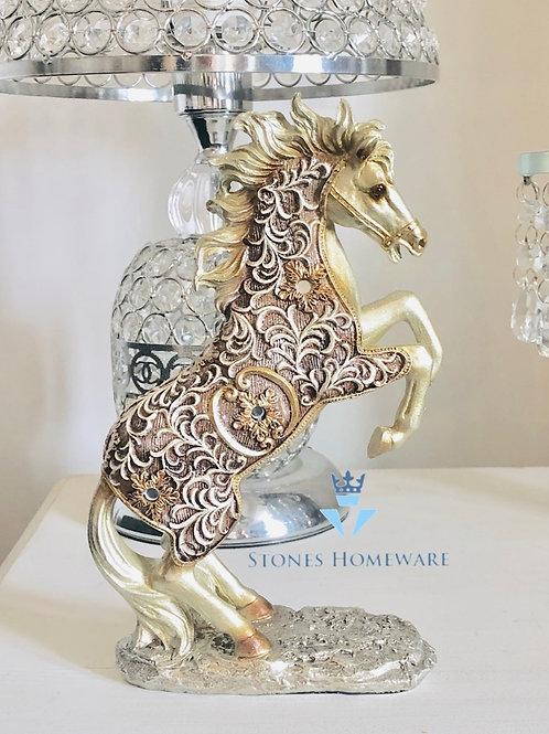 Large Filigree Gold Rearing Horse