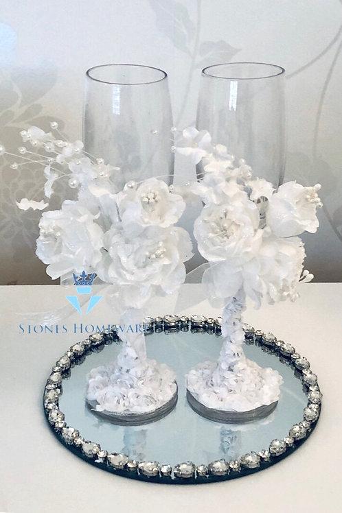 Diamanté studded Candle plate