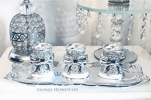 Silver Crystal Bow Tea light holder gift set