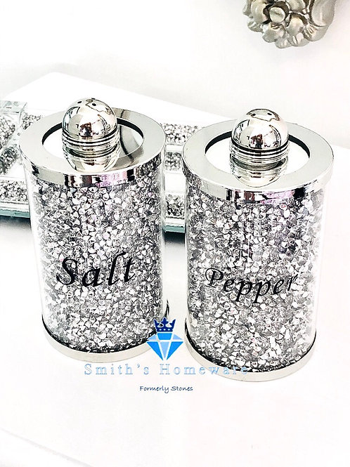 Silver Diamanté Salt and Pepper Pots