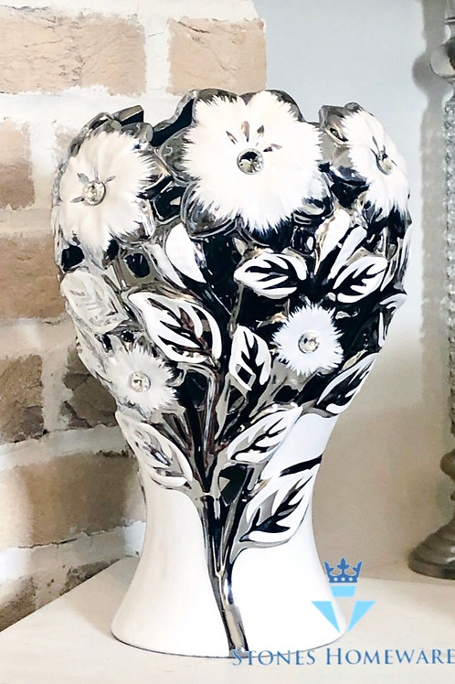 White/Silver Diamanté Studded Flower Vase