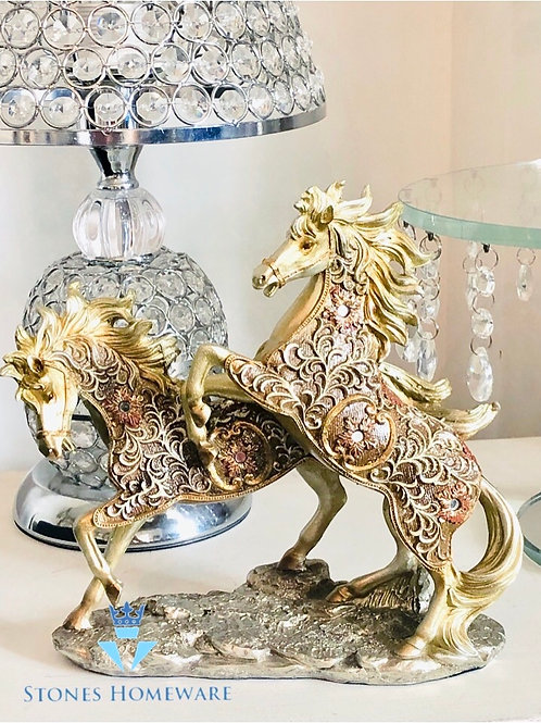 Gold Filigree Frolicking Horses