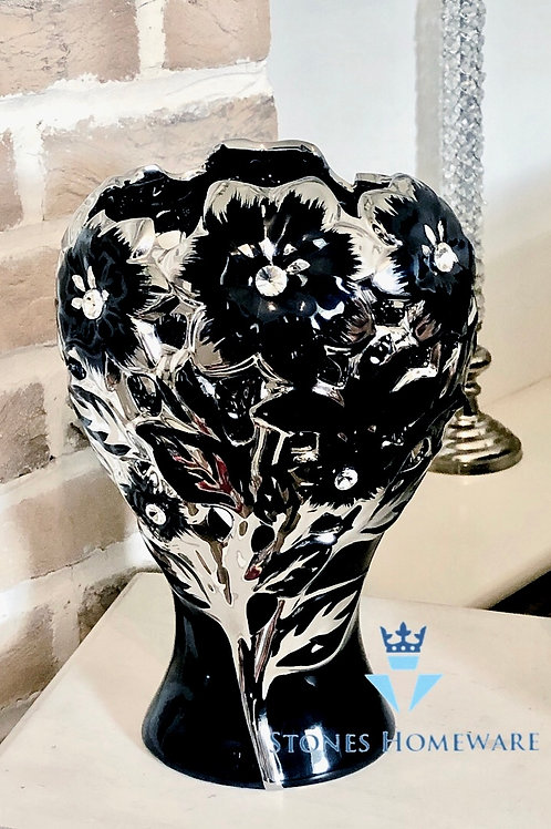 Black/Silver Diamanté Studded Flower Vase