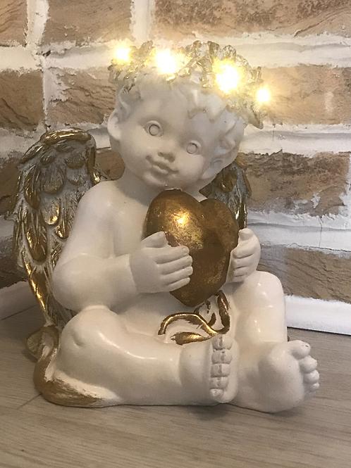 LED Cherub With Heart