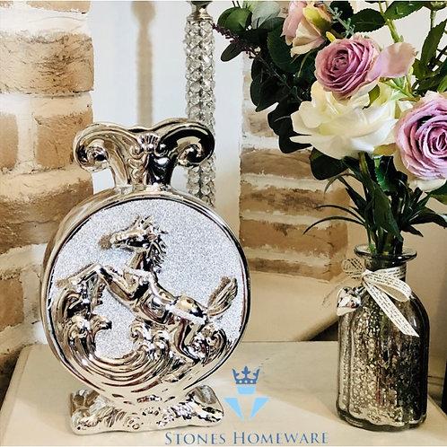 Silver Glitter Horse Vase