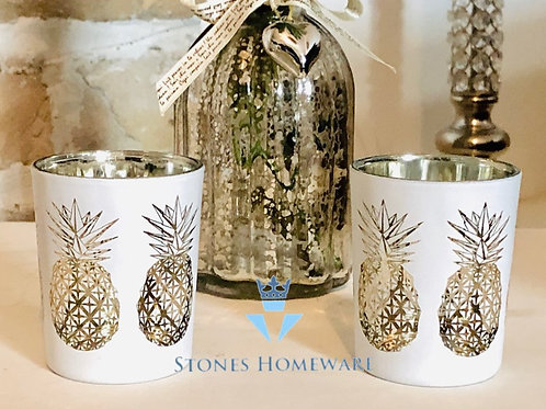 Set of 2 Pineapple Tealight Holders