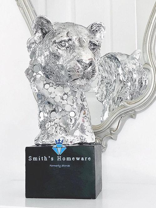 Silver Art Cheetah Head Bust