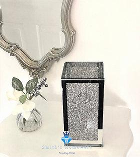 Glass Silver Crystal filled Vase