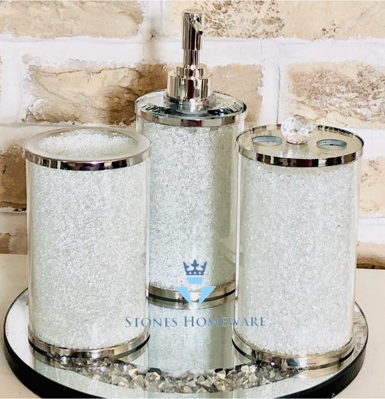 White Diamante Bathroom Set Stoneshomeware