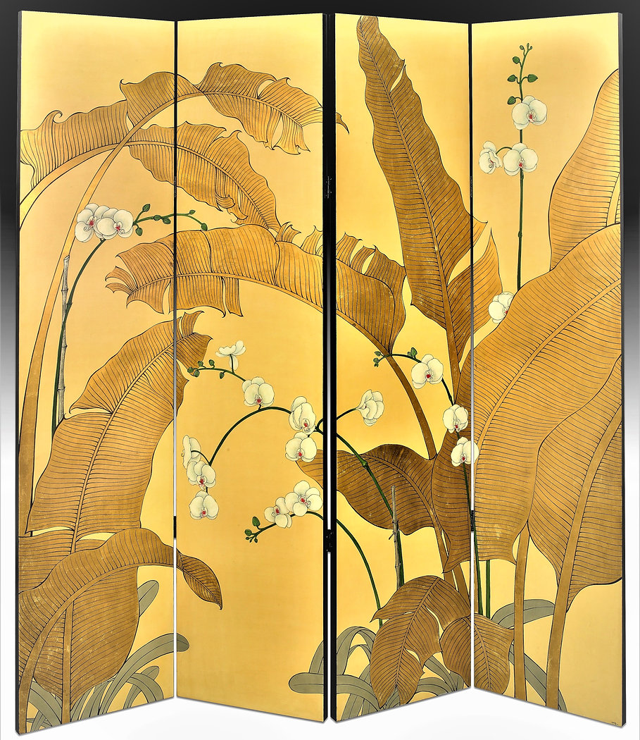 folding screen elegant gold palms with white orchids