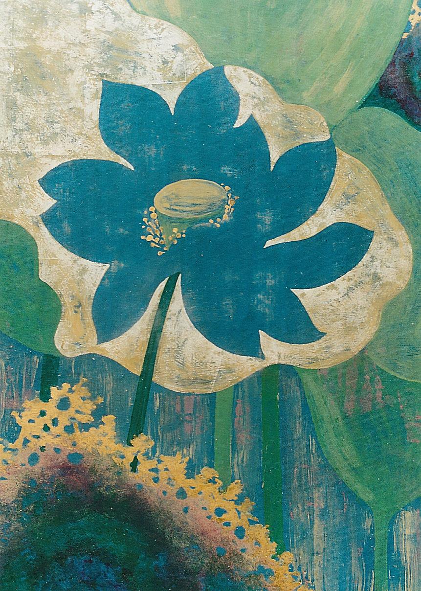 Blooming blue lotus among its silver, gold lotus leaves