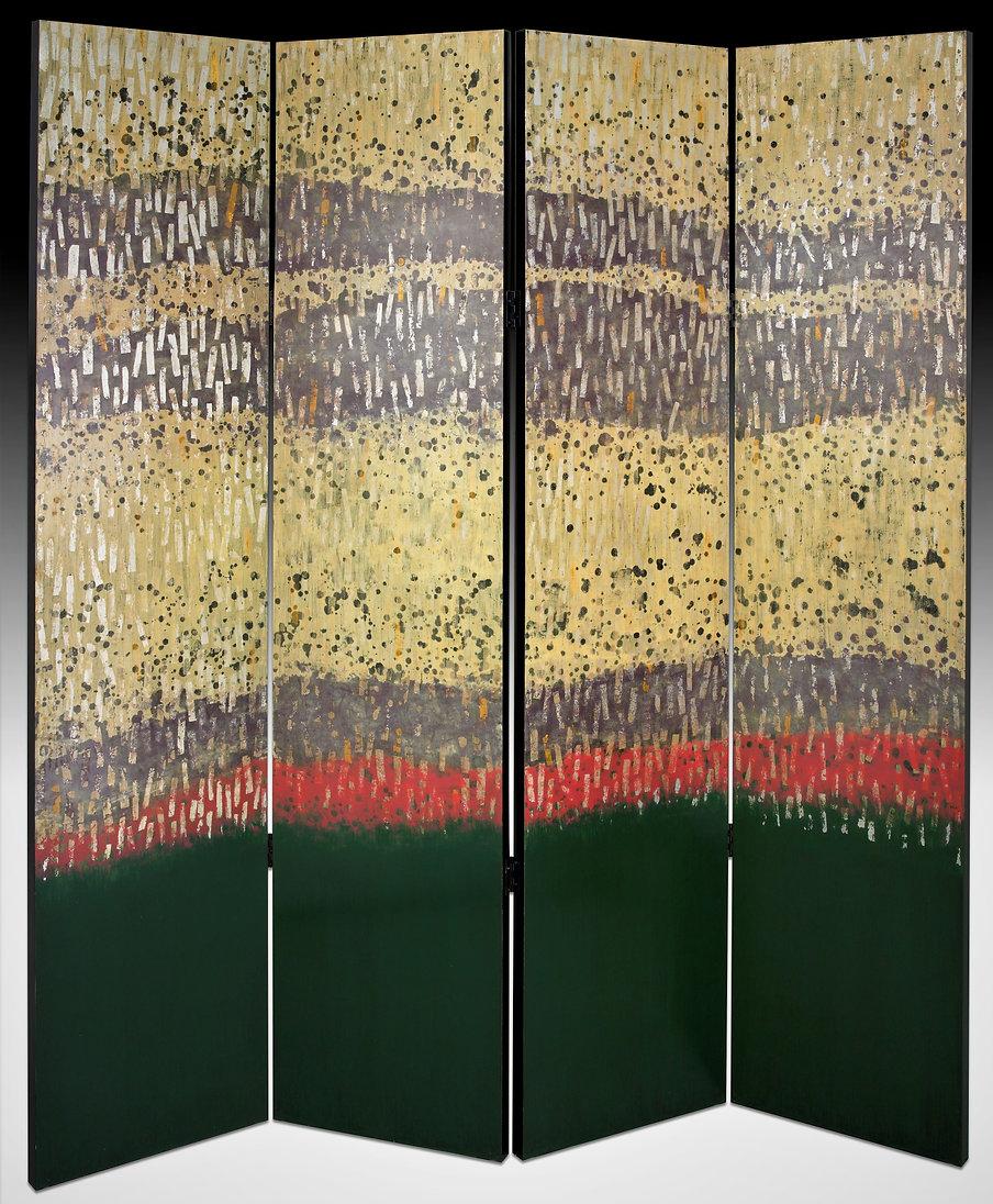 Folding screen silver mauve heaven, green earth, silver, gold raindrops abstract art