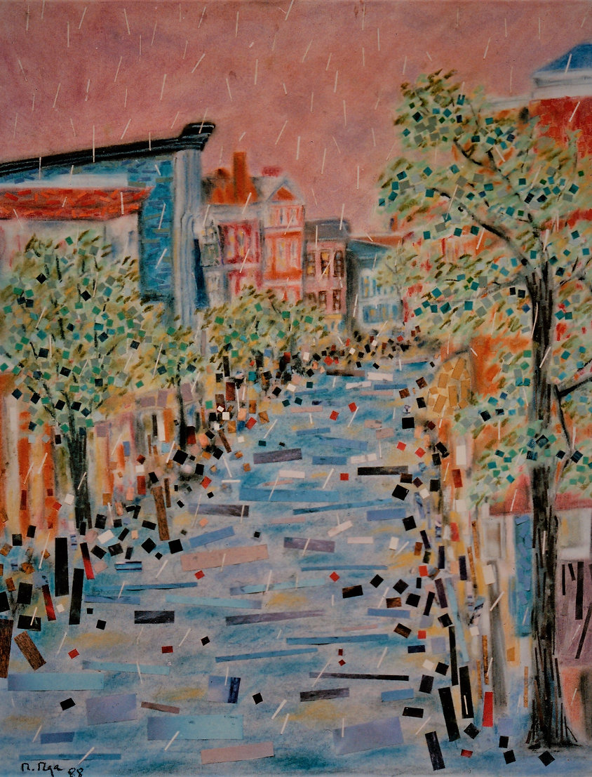 Georgetown, DC, blue, lavender street with rusty brick townhouses and busy shoppers under a soft pink sky rain, pastel, collage abstract art