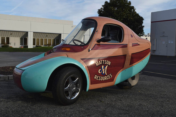 Unique custom wrap for three wheeled electric vehicle